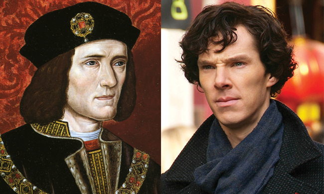 Portrait of King Richard 3 beside a photo of Benedict Cumberbatch