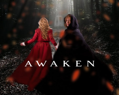 Awaken poster featuring Hermione played by Daria Puttaert and Paulina played by Tracy Penner running into the woods.