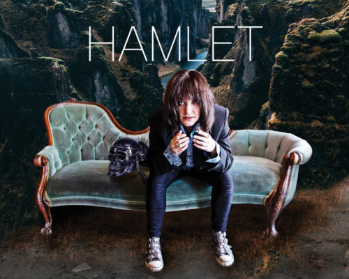 Hamlet poster featuring Hamlet played by Heather Russell-Smith lifting his head out of his hands.