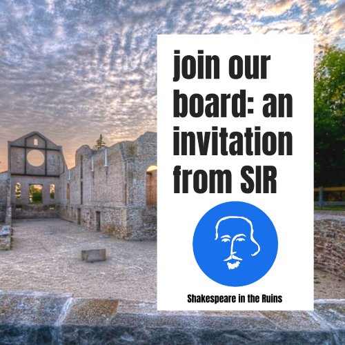 A panoramic image of the St Norbert Ruins, a sunset sky visible through the rose window. Overlaid text: Join Our Board. An invitation from SIR