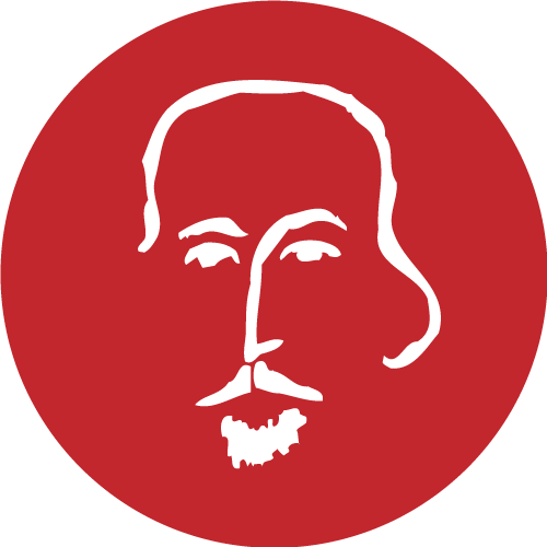 shakespeare logo in red circle